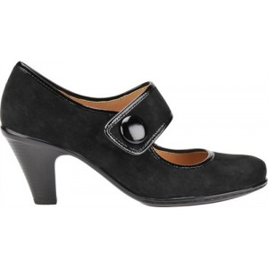 Studio, black suede a Mary Jane style pump by Soft Spots