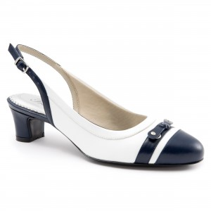 Trotters Jaden White Navy at  AskTheShoeLady.com