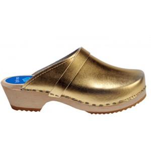 Cape Clogs Gold Gold at DesignerShoes.com