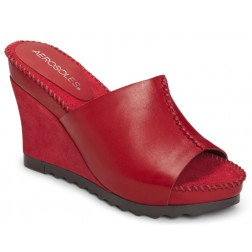 Aerosoles' Birthright wedge heel slide in red.