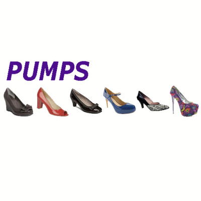 Low or high heel pumps, wedge heels, mary jane straps, platforms in many colors.